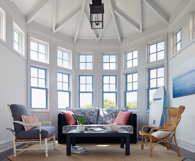 Sunroom. Coastal Sunroom. The couch in this sunroom is from Lee Industries. #Sunroom Andrew Howard Interior Design.