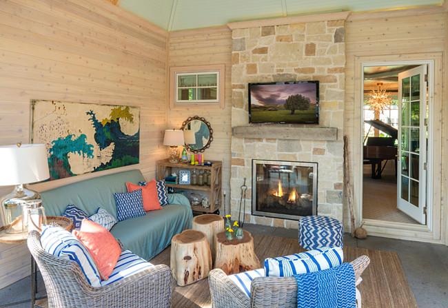 Sunroom. Sunroom with graywash shiplap walls and turquoise blue ceiling. Great Neighborhood Homes.