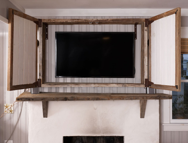 TV Cabinet above Fireplace. Hidden tv cabinet above fireplace. How to build a tv cabinet box above the fireplace.