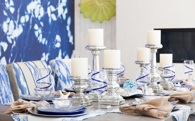 Table Decorating deas. Modern blue and white table decorating ideas. Blue and white table decor. #TableDecor #Blueandwhite Great Neighborhood Homes.
