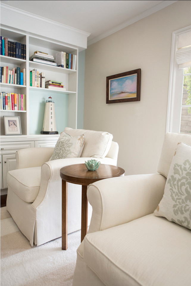 Benjamin Moore Paint Color: Benjamin Moore Palladian Blue HC-144 The built in wall is Benjamin Moore Palladian Blue HC-144 #BenjaminMoore #PalladianBlue HC-144