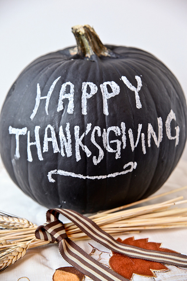 Chalk Painted Pumpkin.Thanksgiving Ideas. Chalkboard Pumpkins. #ThanksgivingIdeas. Via Better Recipes.