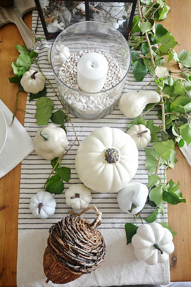 Thanksgiving Pumpking Decor. White Pumpkin Decor Ideas. DIY Painted Pumpkins. #Thanksgiving. Via Liz Marie Blog.