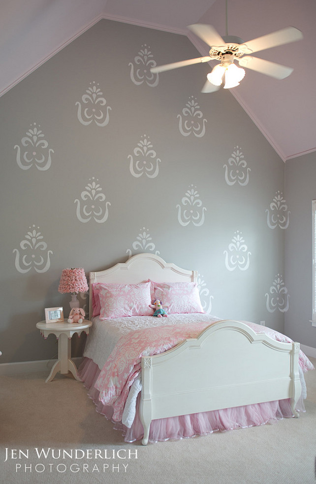 The gray color is Benjamin Moore Silver chain and the pink paint Color is Benjamin Moore Rosemist.