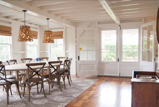 Dining Room Ideas. Great Dining Room Design Ideas. The The lights in this casual dining room are from Serena + Lilly. The flooring is antiqued pine from Tallon Lumber. #diningRoom #DiningRoomDesign #DiningRoomDecor