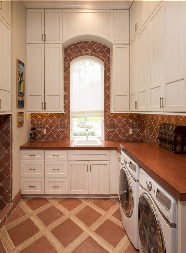 Mediterranean Laundry Room Design. #Mediterranean #LaundryRoom Design #Interiors