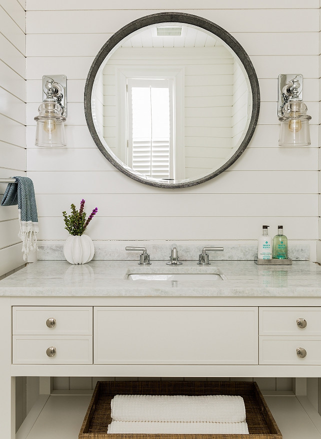 Tongue and Groove Bathroom. Bathroom features tongue and groove paneling painted in a creamy white paint color. #Bathroom #TongueandGroove #CreamyWhite Jennifer Palumbo.