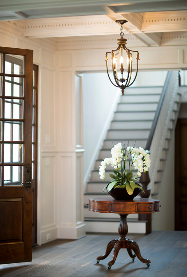 Traditional Foyer with hardwood floors and coffered ceiling. #Foyer Whitestone Builders.