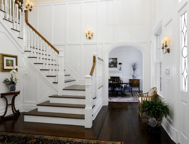Traditional Foyer. Traditional Paneling. White paneling - foyer. #Foyer #Paneling #Traditional Sotheby's Homes.