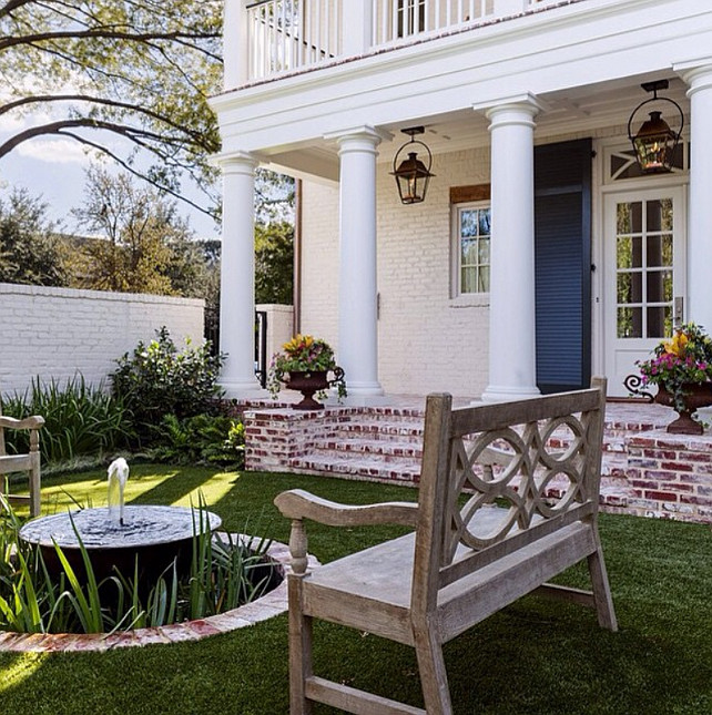 Traditional Front Yard. Traditional Front Yard ideas. Traditional home Front Yard. Front porch with gas lanterns. #Traditional #FrontYard Collins Interiors.