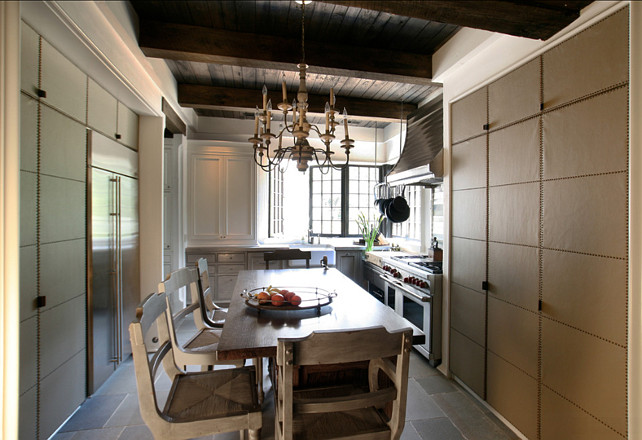 Transitional Kitchen Design. Transitional kitchen with leather cabinets. #Transitional #Kitchen