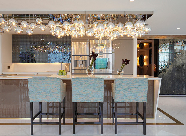 Transitional Kitchen Lighting. Transitional kitchen with glass ball chandelier. #Kitchen #TransitionalKitchen #Lighting Rocco Borghese.