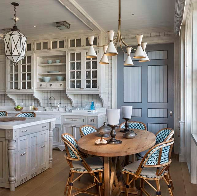 Transitional Kitchen. Transitional Kitchen with distressed cabinets. #Kitchen #DistressedKitchenCabinet Robert A M Stern Architects