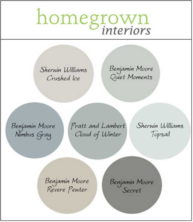 Transitional Paint Colors. Transitional Paint Color for Modern Interiors. Gray, Blue and Green Paint Colors. Crushed Ice Sherwin Williams. Quiet Moments Benjamin Moore. Nimbus Gray Benjamin Moore. Cloud of Winter Pratt and Lambert. Topsail Sherwin Williams. Revere Pewter Benjamin Moore. Secret Benjamin Moore. Via Homegrown Interiors.