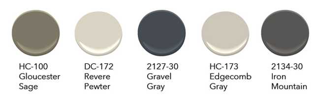 Transitional Paint Colors. Transitional Gray Paint Colors. Modern Gray Paint Color. Benjamin Moore HC-100 Gloucester Sage, Benjamin Moore HC-172 Revere Pewter, Benjamin Moore 2127-30 Gravel Gray, Benjamin Moore HC-173 Edgecomb Gray, Benjamin Moore 2134-30 Iron Mountain. #BenjaminMoorePaintColors #BenjaminMooreGrayPaintColors #TransitionalBenjaminMoorePaintColors  #TransitionalGrayPaintColors #TransitionalPaintColors Via David Benton