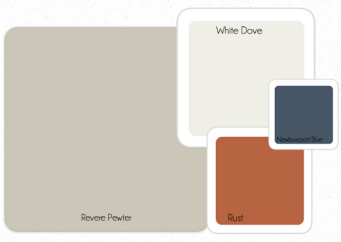 Transitional Paint Colors. Benjamin Moore Revere Pewter. Benjamin Moore White Dove. Benjamin Moore Newburyport Blue. Benjamin Moore Rust. #Transitional #paintColor Linda Holt Interiors
