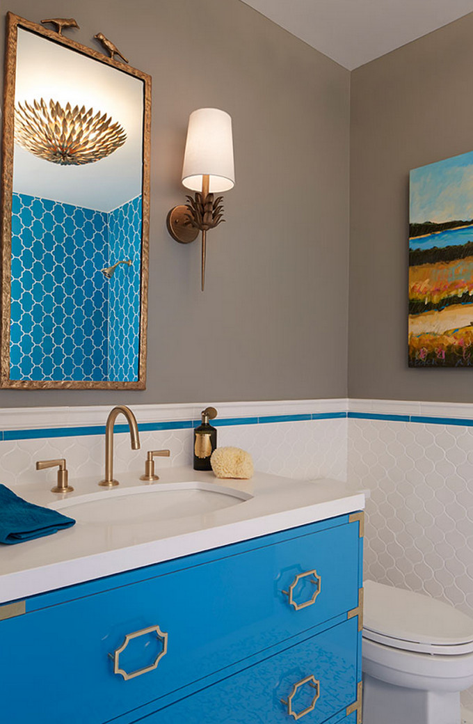 Turquoise Bathroom Cabinet. Artistic Designs for Living.