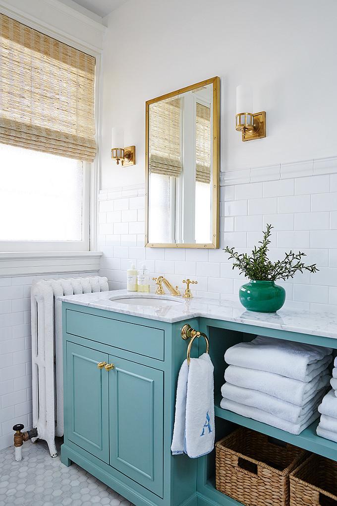 Turquoise Bathroom Vanity. Amie Corley Interiors.