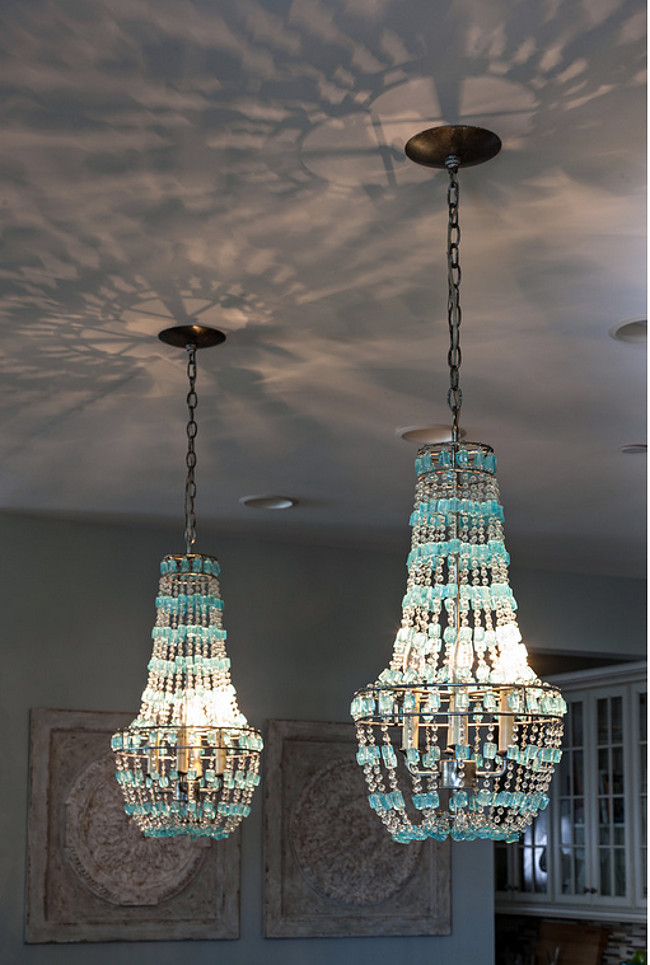 Turquoise Chandelier Pendant Lighting. Turquoise Beaded Chandelier. Kitchen Turquoise Beaded Chandelier Pendants over island. #Turquoise #Beaded #Chandelier Casabella Home Furnishings & Interiors.