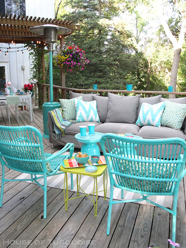 Turquoise Furniture. Turquoise outdoor furniture ideas. Turquoise patio decor. #Turquoise #Patio #Furniture #Deck House of Turquoise.