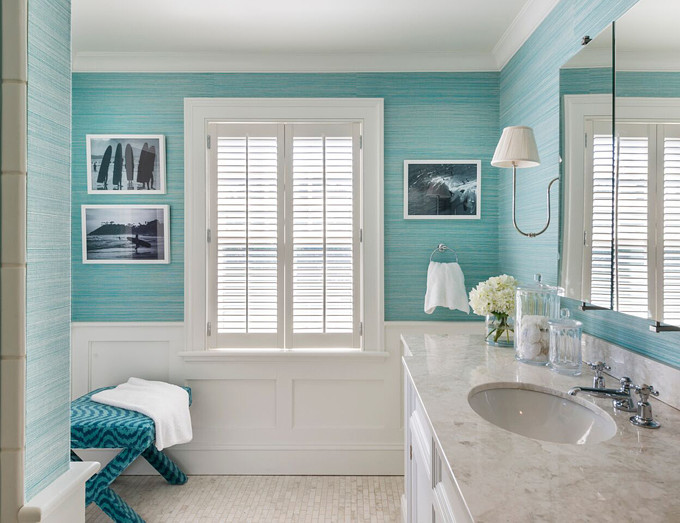 Turquoise Grasscloth Wallpaper. Kate Jackson Design.