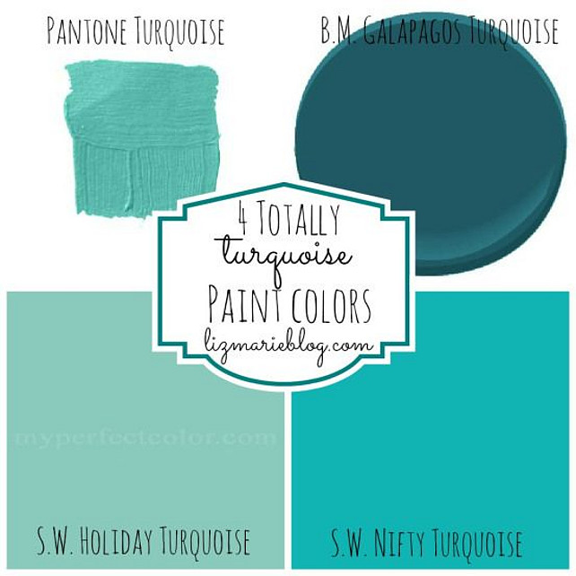 Turquoise Paint Color. Pantone Turquoise, Benjamin Moore Galapos Turquoise, Sherwin Williams Holiday Turquoise, Sherwin Williams Nifty Turquoise. #Turquoise #TurquoisePaintColor
