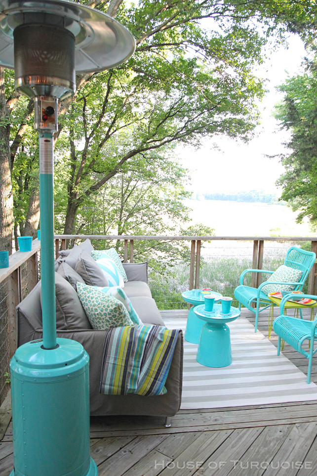 Turquoise Patio Design. Outdoor deck with turquoise patio furniture and turquoise accents. #Turquoise #Patio #TurquoiseFurniture #TurquoiseAccents House of Turquoise.