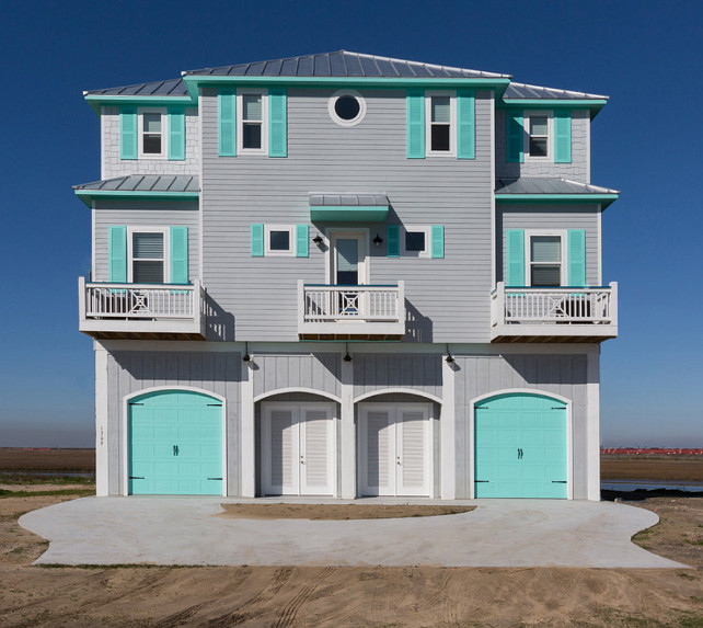 Beach house with turquoise interiors home bunch interior - Best spray paint for exterior shutters ...