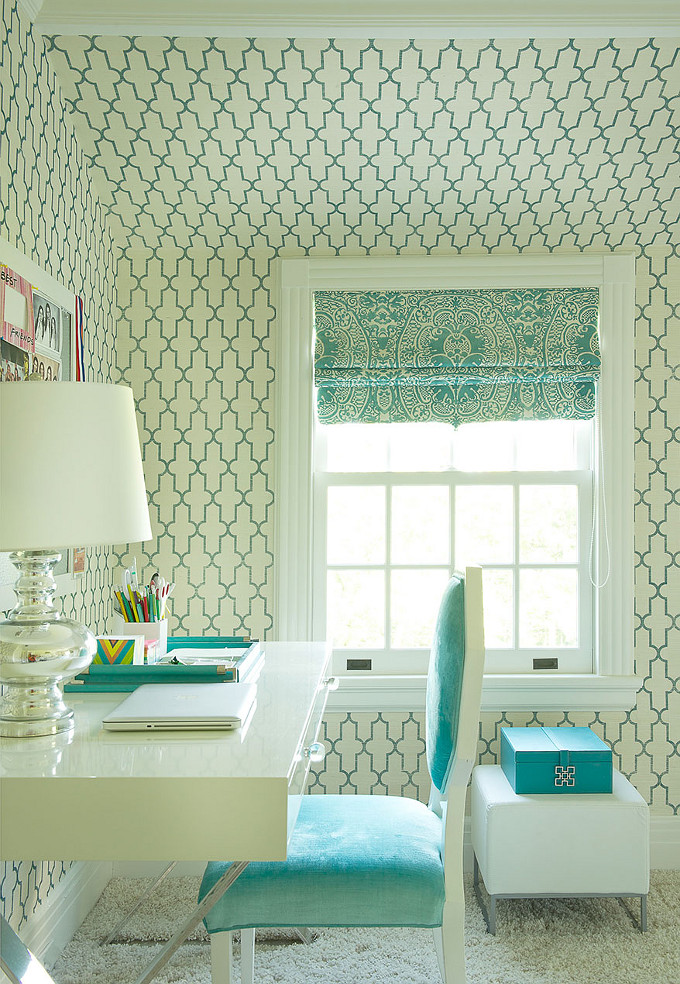 Turquoise Wallpaper. Home Office. Laura Tuntun Interiors.