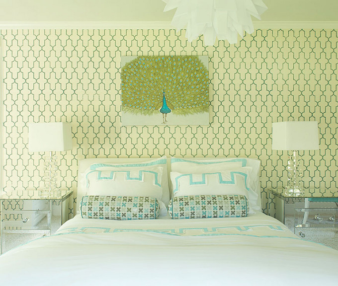Turquoise and Green Bedroom Ideas. Laura Tuntun Interiors.