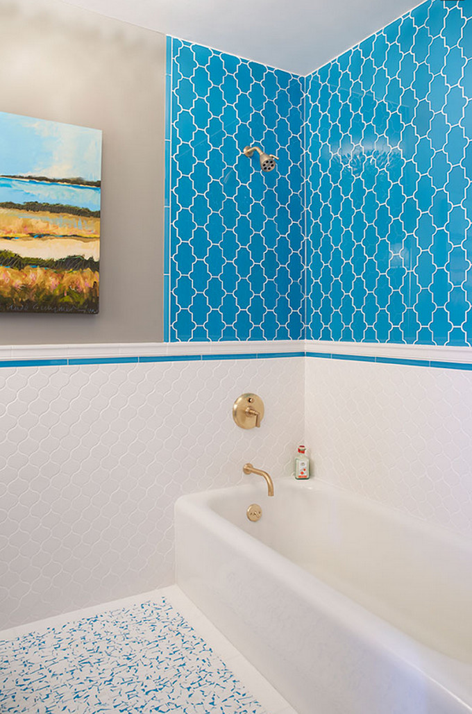 Turquoise and white Arabesque Bathroom Tile. Artistic Designs for Living.