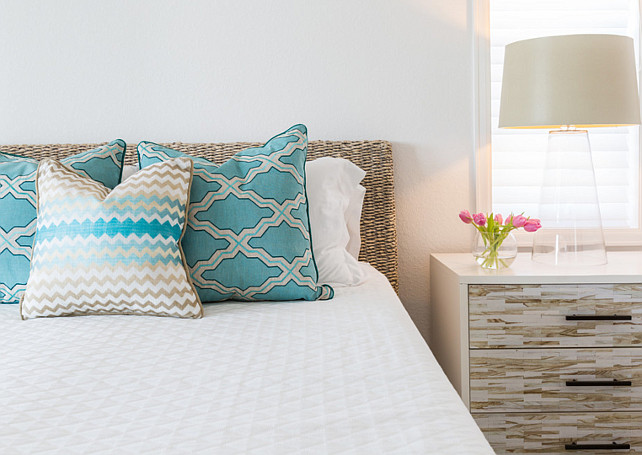 Turquoise decor. Bedroom with turquoise pillows. Bedroom with turquoise accents. #Bedroom #Turquoise Laura U, Inc.