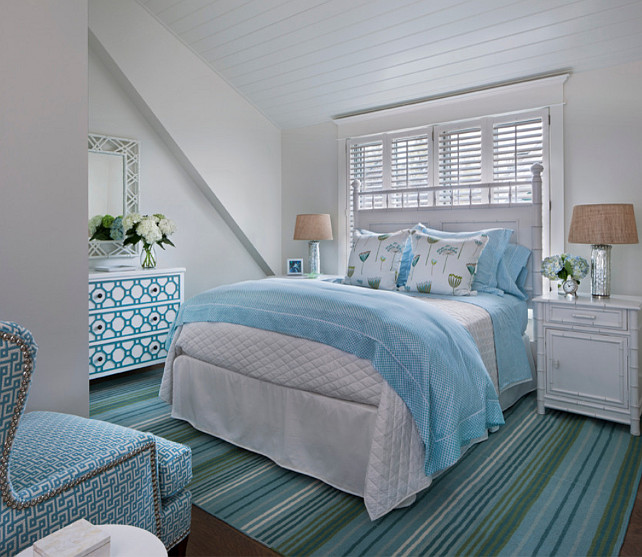Bedroom With White And Turquoise Decor Turquoisedecor Designed