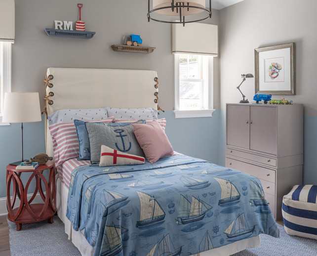 Two Tone Walls. Kids Bedroom Ideas. Kids Bedroom Decorating Ideas. Kids Bedroom Paint Color Ideas. Upper walls painted gray, Benjamin Moore Gray Huskie, and lower walls painted blue, Benjamin Moore Santorini Blue. #KidsBedroom