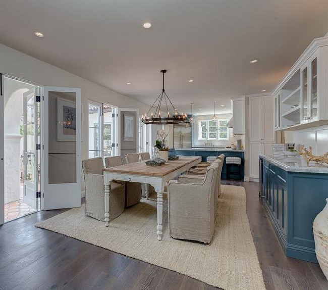 Two Toned Kitchen. Blue and white two toned kitchen. Blue and white two toned kitchen cabinets. Sotheby's Homes.