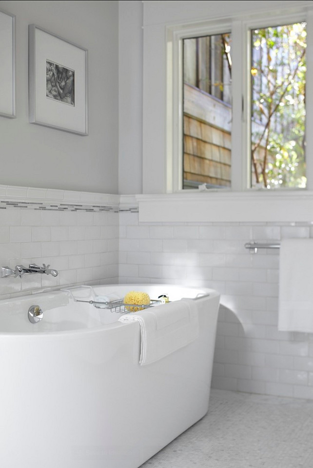 Bathroom. Subway Tile in Bathroom. Love this clean look! #Bathroom #Interiors