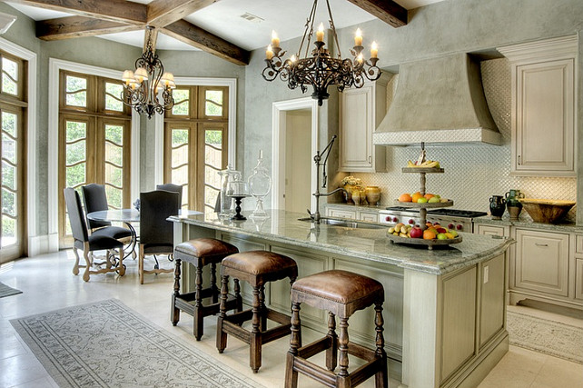 French Kitchen. Isn't this a beautiful French Kitchen? #FrenchKitchen #FrenchInteriors #Interiors