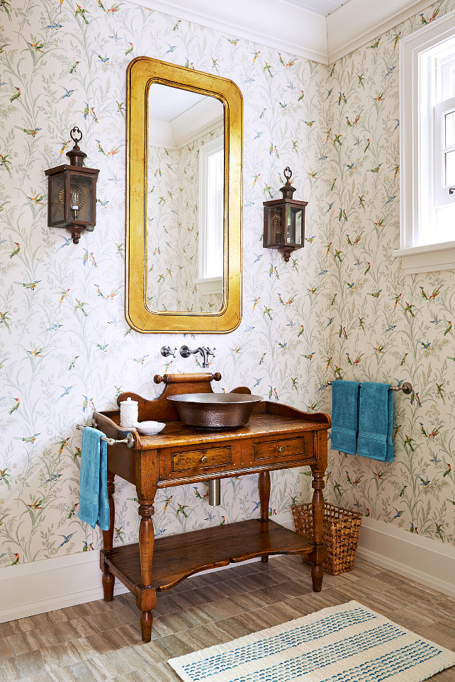 "Vintage Dresser Transformed into Bathroom Vanity Designed by Sarah Richardson. Transforming a vintage dresser into a vanity is a fast way to make a brand-new powder room feel less run of-the-mill,"" says designer Sarah Richardson. #SarahRichardson"