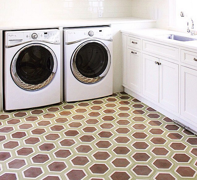 Vintage Tile Ideas. Laundry room with vintage style tiles from Ann Sacks. #VintageStyleTiles #VintageTiles #VintageTiling Collins Interiors.