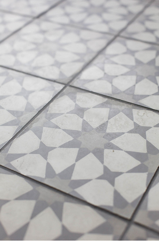 Vintage Tile Ideas. Laundry room with vintage tile design. I am loving this vintage-style white and gray tile floor. #VintageTile #VintageTileFlooring #VintageTiles #VintageTiledFloor Ashley Winn Design.