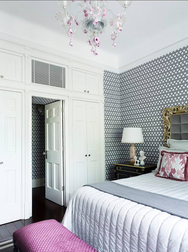 Wallpaper. Wallpaper ideas. The wallpaper here is the David Hicks Hexagon Wallpaper. Greg Natale Architects & Building Designers.