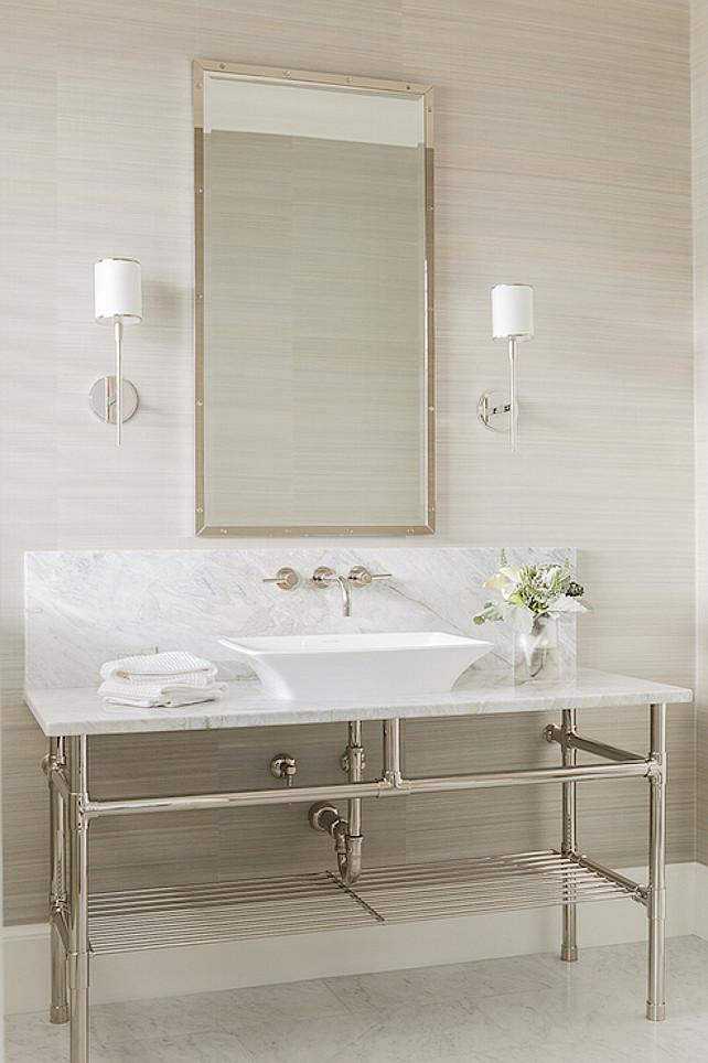 Washstand with Vessel Bathroom.  Anita Clark Design.