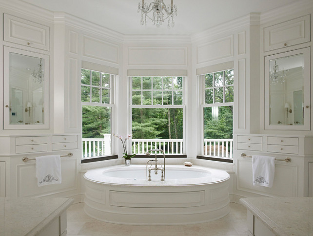 White Bathroom Design. Timeless White Bathroom Design. #Bathroom #WhiteBathroom