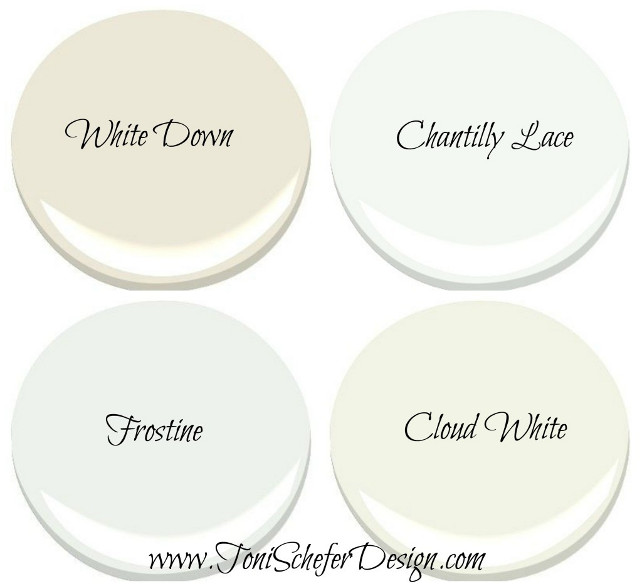 White Cabinet Paint Color by Benjamin Moore. White Down Benjamin Moore (Ivory Cabinet Paint Color). Chantilly Lace Benjamin Moore (True White Cabinet Paint Color). Frostine Benjamin Moore (White with a hint of Gray Cabinet Paint Color). Cloud White Benjamin Moore (Off-White Cabinet Paint Color) Via Toni Schefer Design.