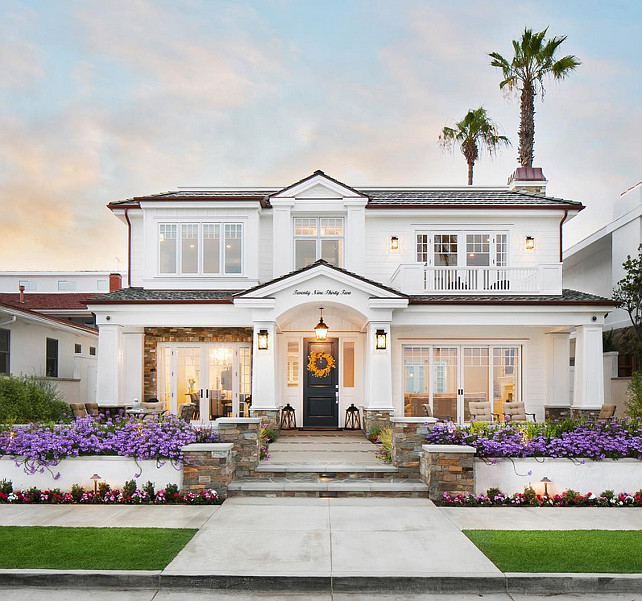 White House Exterior Ideas. Modern white beach house exterior. #Whitehouseexterior Patterson Custom Homes.