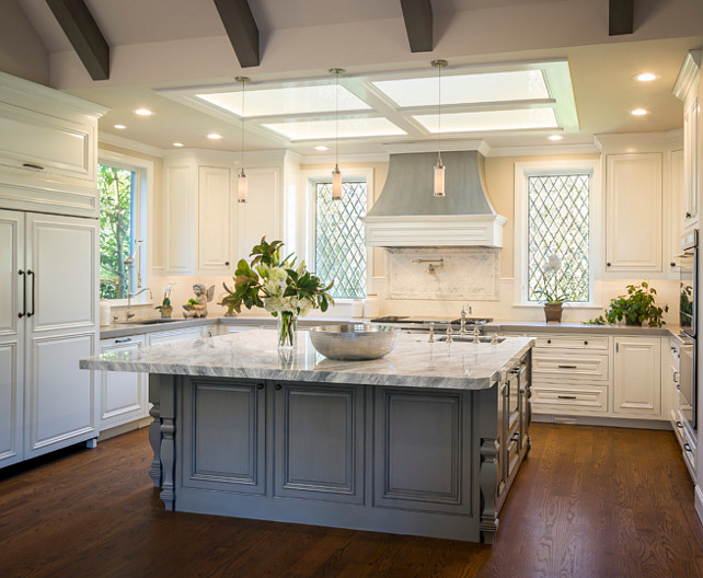 White Kitchen Gray Island. Kitchen with White Perimeter Cabinets and Gray Island. #WhiteKitchen #GrayIsland #WhitePerimeterCabinet #GrayIslandKitchen Brownhouse Design.
