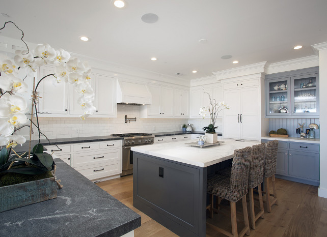 White Kitchen Gray Island. #WhiteKitchen #GrayKitchenIsland #GrayIsland