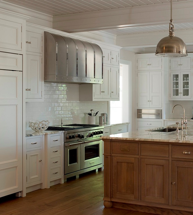 White Kitchen with Beadboard Ceiling #WhiteKitchen #BeadboardCeiling #Kitchen #KitchenBeadboardCeiling Phoebe Howard.