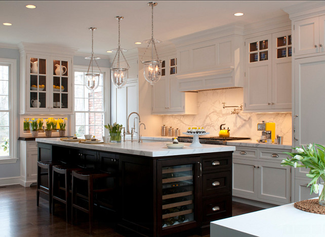 White Kitchen with Dark Island. Classic white kitchen with dark island. #WhiteKitchen #DarkIsland