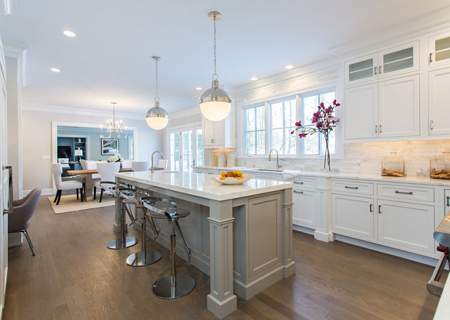 White Kitchen with Gray Island. #WhiteKitchen #GrayIsland  SIR Development.